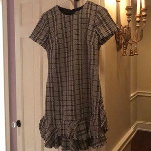 Plaid dress with fringe detail